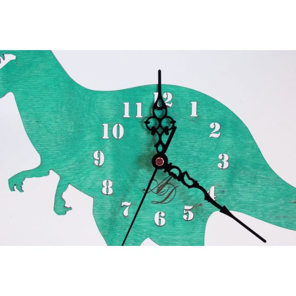 ++Lézervágott türkíz dínós óra sweep óraszerkezet, Ingyenes posta++